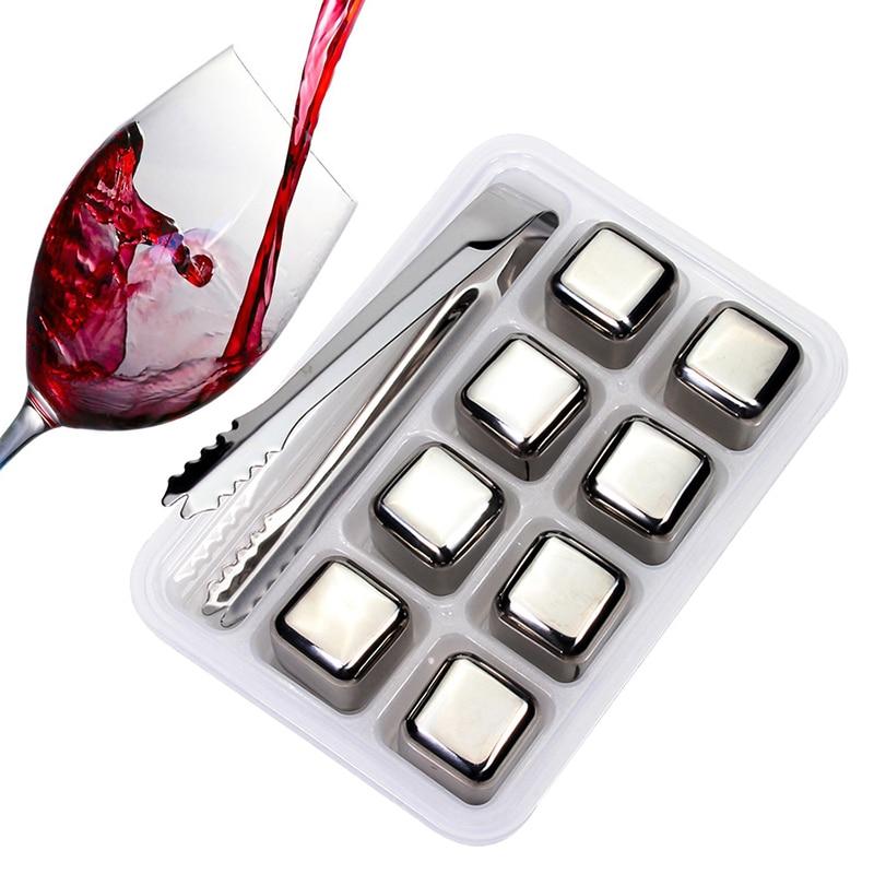 Edelstahl Eiswürfel, Wiederverwendbare Chilling Steine für Whisky Wein, Halten Ihr Getränk Länger Kalt, SGS Test Pass
