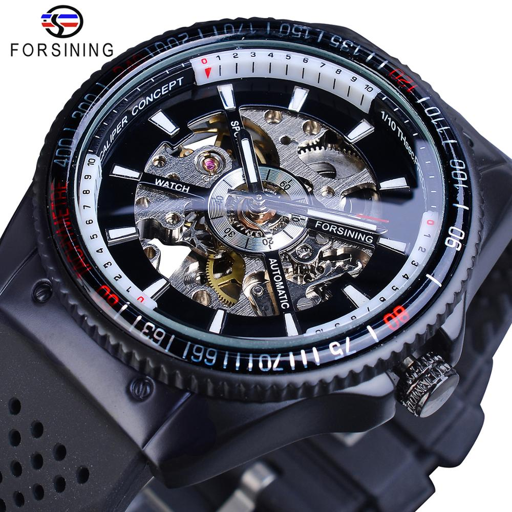 Forsining 2016 Rotating Bezel Sport Design Silicone Band Men Watches Top Brand Luxury Automatic Black Fashion Casual Watch Clock
