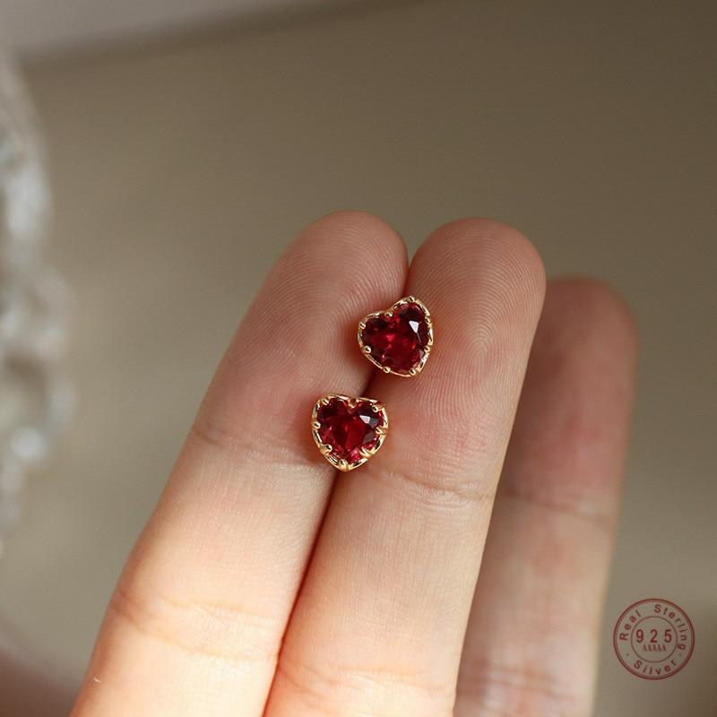 925 Sterling Silver Red Heart Stud Earrings For Women Luxury Temperament Wedding Party Jewelry Accessories Girlfriend Gift