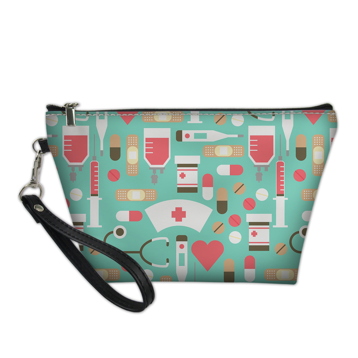 Thikin Cartoon Nursing Items Print Makeup Bag For Girls Ladies Cosmetic Case Nurse Cute Pattern Pencil Box Daily HandBags Custom