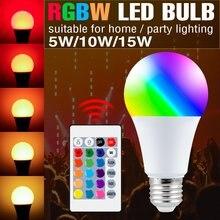 Bombilla LED RGBW con cambio de Color regulable para fiestas, bombilla de luz RGB E27, RGBW, 5W, 10W, 15W, 2 uds.
