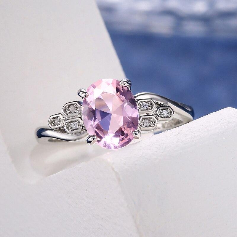 Изысканные розовые овальной формы с украшением в виде кристаллов циркон кольцо для женщин очаровательные свадебные юбилей кольцо ювелирны...