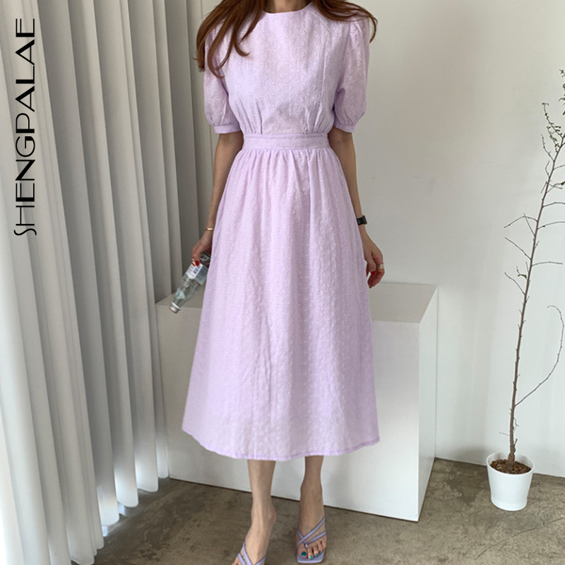 SHENGPALAE 2020 New Summer Women Vintage Loose High Waist Slim Was Thin Elegant Hollow Out Lace Puff Sleeve Maxi Dress ZA4478