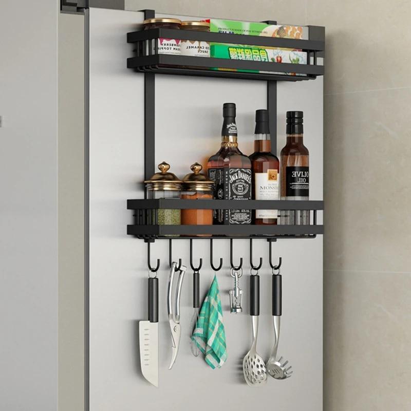 refrigerator side storage rack shelf cupboard organizer kitchen basket cabinet space saving refrigerator hanging rack
