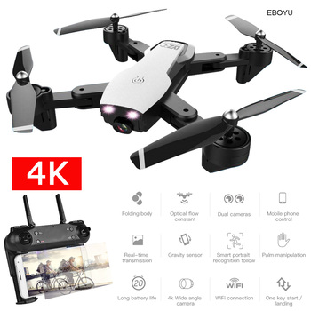 EBOYU L107 WiFi FPV RC Drone 4K/1080P Wide Angle Dual Cameras Optical Flow Altitude Hold RC Quadcopter Drone -20min Flight Time