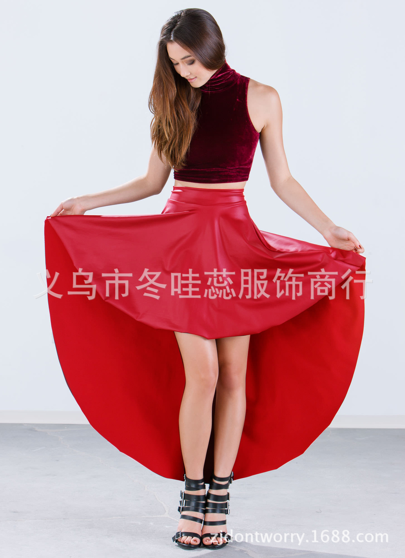 Sk010 Europe And America Large Size Sexy Faux Leather Skirt Front Short Long Back Asymmetric Skirt Hot Sales Skirt