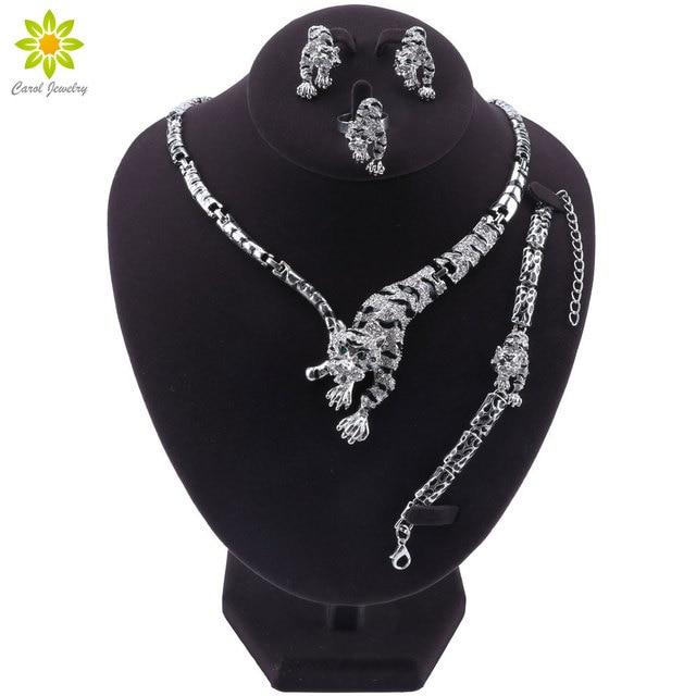 Ensemble de bijoux panthère léopard, Animal, en émail, cristal, strass, collier, boucles doreilles, Bracelet, ensemble de bijoux de fête pour femmes