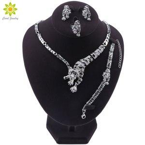 Image 1 - Leopar panter hayvan figürlü mücevherat seti emaye kristal Rhinestone kolye küpe bilezik yüzük seti kadınlar için parti takı