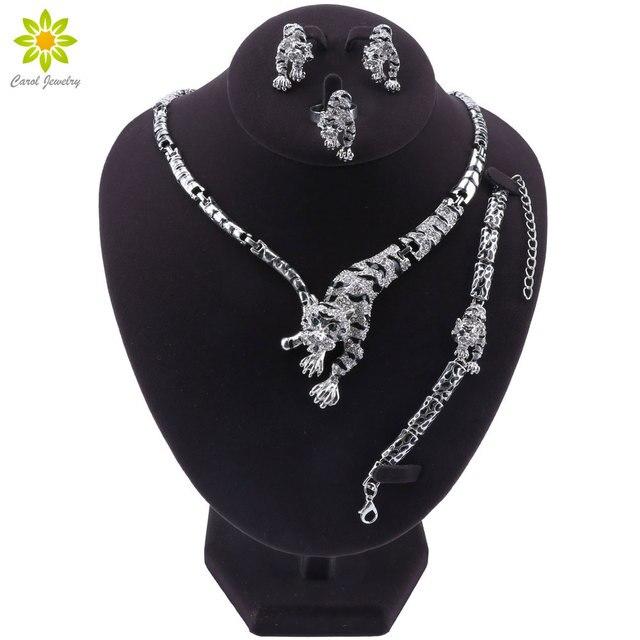 Leopar panter hayvan figürlü mücevherat seti emaye kristal Rhinestone kolye küpe bilezik yüzük seti kadınlar için parti takı