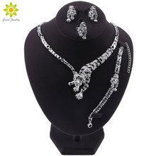 Leopard Panther Animal Jewelry Set Enamel Crystal Rhinestone Necklace Earrings Bracelet Ring Set For Women Party Jewelry