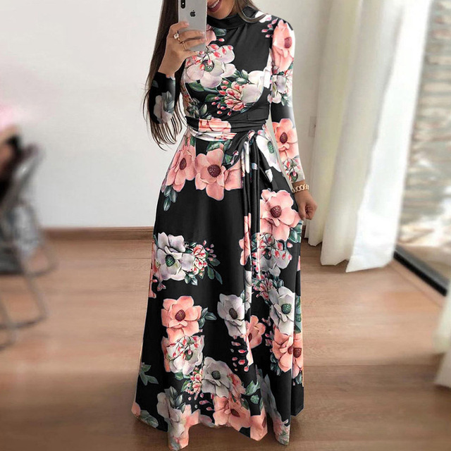 Plus size women's summer long super long dress 2020 casual long sleeve flower print dress casual high collar bandage Vestidos 2