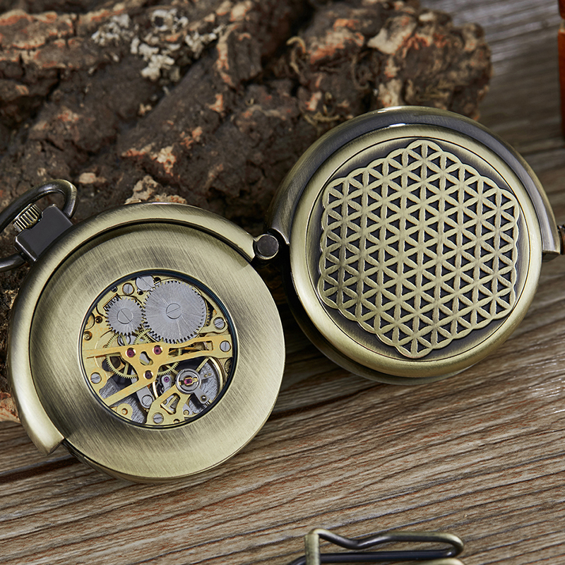 Antique Mechanical Pocket Watch Hollow Turntable Capping Hand Winding Steampunk Skeleton Fob Watches Chain Retro Bronze Clock