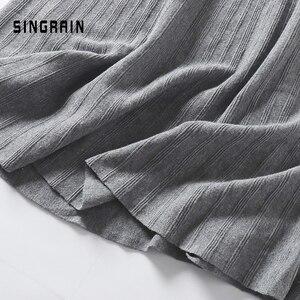 Image 5 - SINGRAIN ผู้หญิงถักกระโปรงยาวฤดูหนาว WARM เสื้อกันหนาว A Line Maxi กระโปรง Midi ถักหญิงก้น Swing กระโปรงฤดูใบไม้ร่วง