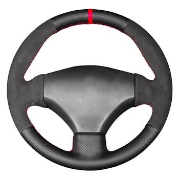 Czarne prawdziwa skóry zamszowe ręcznie szyte osłona na kierownicę do samochodu dla Peugeot 206 1998-2005 206 SW 2003-2005 206 CC 2004 2005 tanie i dobre opinie CN (pochodzenie) Kierownice i piasty kierownicy