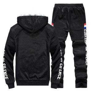 Image 4 - Conjuntos de treino de inverno dos homens engrossar hoodies + calças terno dos homens primavera moletom esportivo conjunto masculino com capuz ternos esportivos roupas
