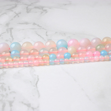 LingXiang fashion natural Jewelry pink Morganite loose beads DIY Men and women bracelet necklace Accessories