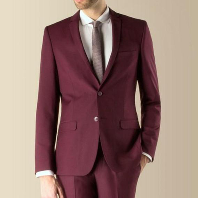 2020 Burgundy Evening Party Men Suits Notched Lapel Trim Fit Two Piece Wedding Groom Tuxedos Custom Made Jacket Pants