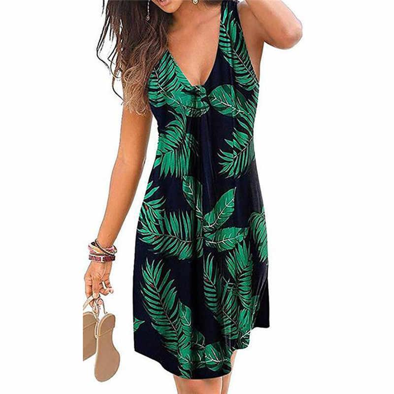 Plage Boho imprimer robe 2020 nouveau Sexy col en v sans manches en vrac a-ligne robe grande taille 4XL 5XL été femmes robes décontractées Vestidos