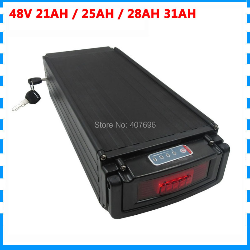 1000W 48V 21AH lithium battery 48V 25AH rear rack ebike batterie use for samsung 3500mah cell with tail light 30A BMS 5A Charger|Electric Bicycle Battery| |  - title=