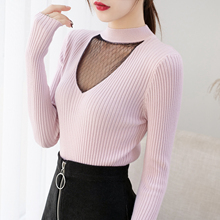 Korean Fashion Women Sweater Lace Mesh Sweaters Autumn Woman Knitted Thin and Pullovers Plus Size XL