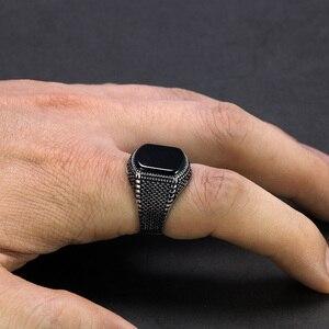 Image 4 - ตุรกีเครื่องประดับสีดำแหวนผู้ชาย น้ำหนัก6G 925เงินสเตอร์ลิงแหวนบุรุษแหวนหินธรรมชาติVintage coolแฟชั่น