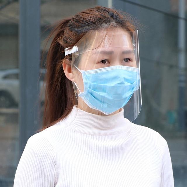Protective Full Face Shield Covering Mask Anti Droplet Saliva Transparent Pantalla Facial Protection Dust-proof Anti-fog Visor
