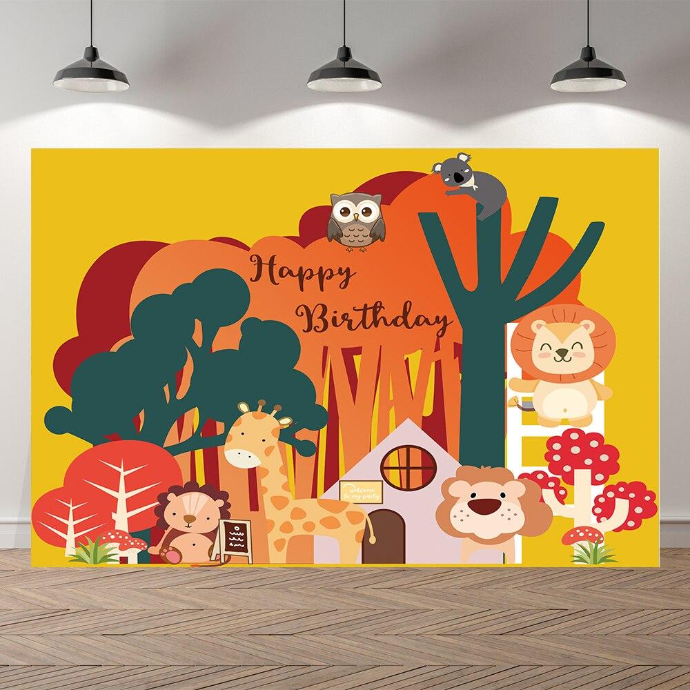 Seekpro лес сафари Животные Лев фотосессии на день рождения ребенка фон для фотосъемки с изображением в стиле вечеринки в честь Дня Рождения оп...