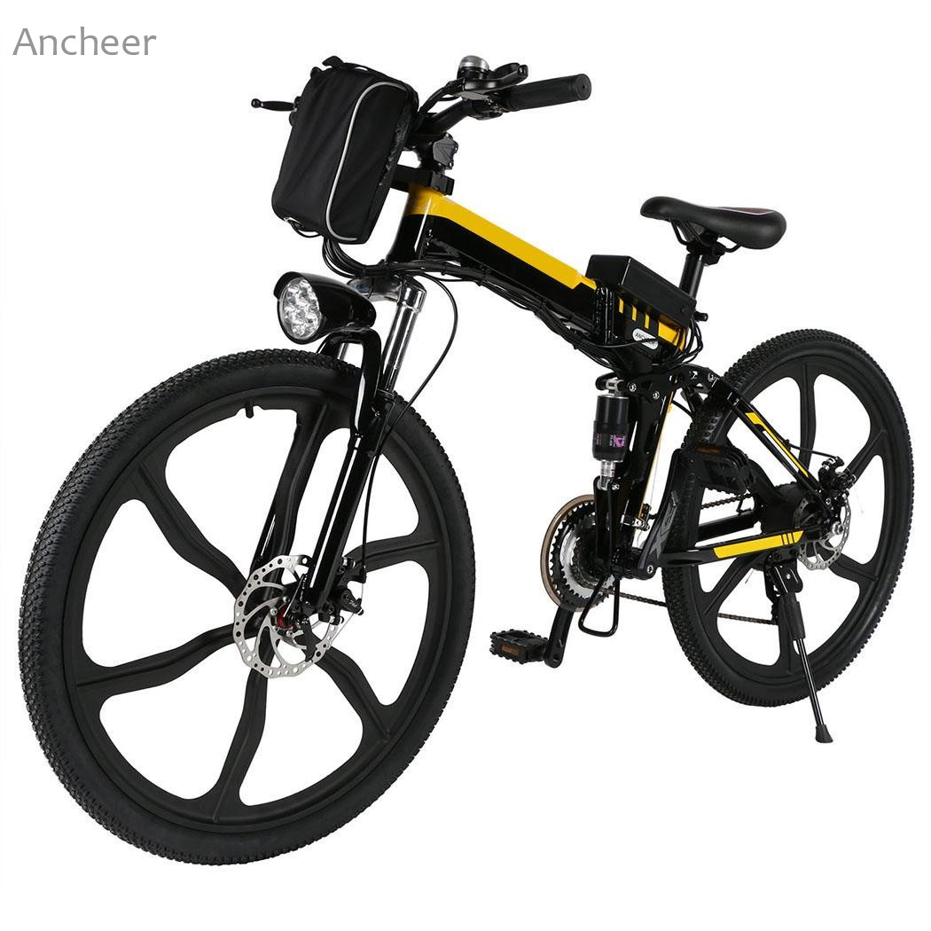 26inch 21 Speed Mountain Bike Foldable Electric Power Mountain Bicycle Lithium-Ion Battery Aluminum Alloy Bicycle Sports Cycling image