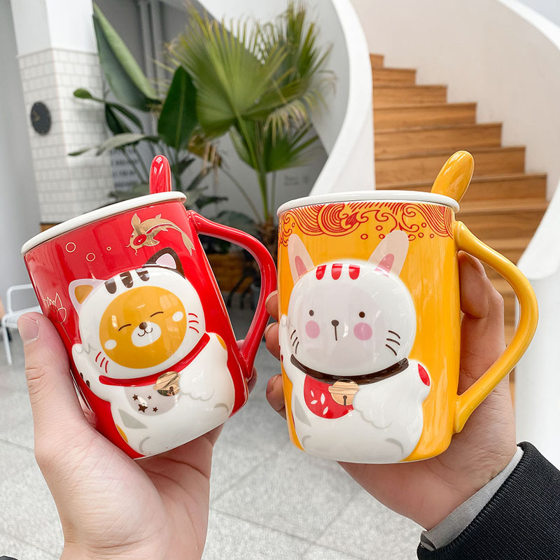 400ml Cartoon <font><b>Lucky</b></font> <font><b>Cat</b></font> Mug Creative Chinese Ceramic <font><b>Cup</b></font> with Lid and Spoon Coffee Mug with Handle Cute <font><b>Cat</b></font> Milk Tea <font><b>Cup</b></font> image