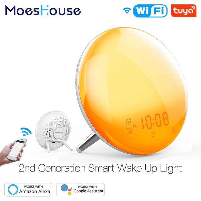 WiFi Smart Wake Up Light Workday Alarm Clock with 7 Colors Sunrise/Sunset Smart Life Tuya APP Works with Alexa Google Home 1
