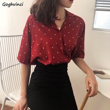 Camisas Mujer cuello vuelto Simple punto estilo coreano chifón ocio manga corta elegante Rojo Negro blusas Mujer verano chica