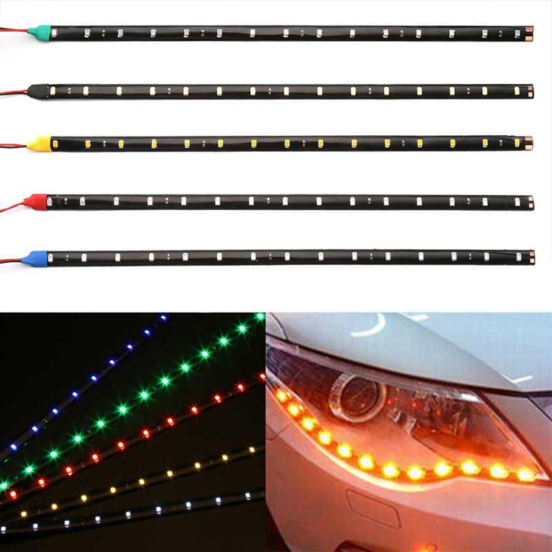 """Yeni 12V 11.8 """"15SMD su geçirmez LED gündüz farı arabalar için ışıklar 30cm araba esnek DRL LED şerit ışık dekoratif araba DRL"""