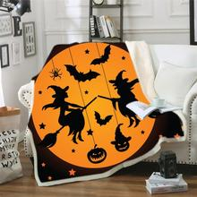 Dropshopping Halloween Carnival Fleece Sherpa Warm Blanket Cartoon Pumpkin Skull 3D Print Bat Plush Throw for Teen Boy
