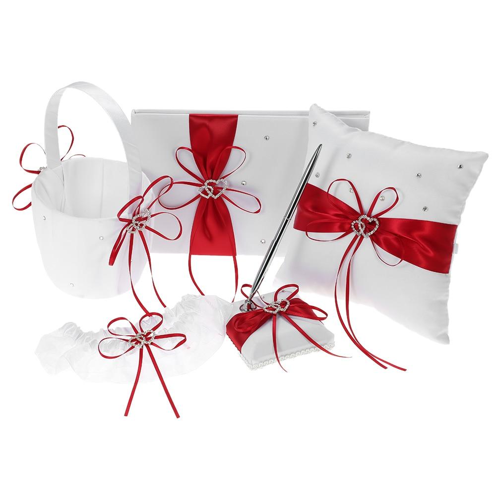 5pcs set Wedding Supplies Double Heart Satin Flower Girl Basket Ring Bearer Pillow Guest Book Pen Holder Bride Garter Set Blue