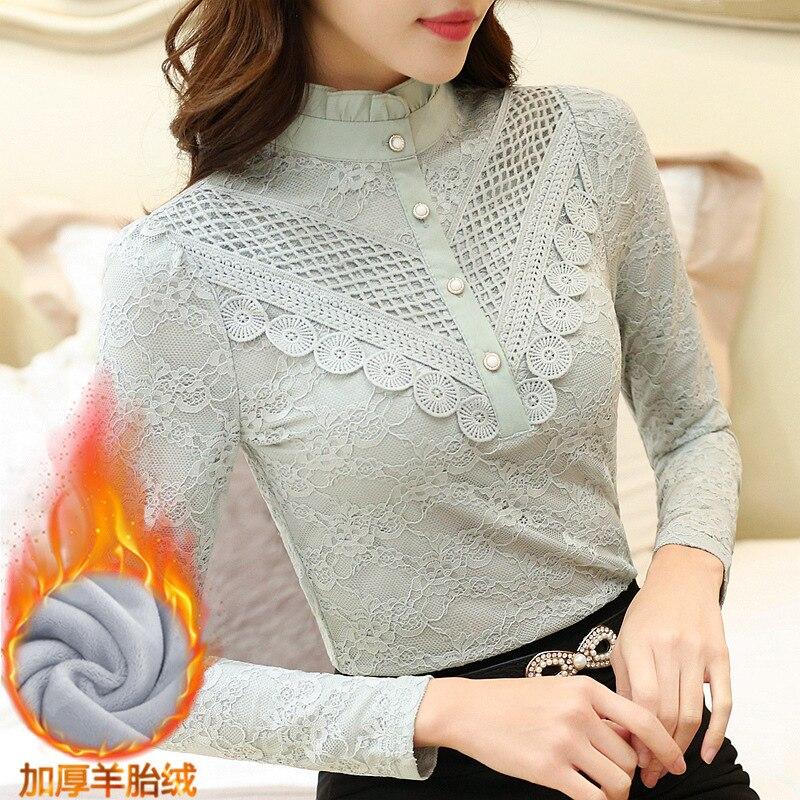 2019 Casual winter Autumn High Collar ruffless Lace Blouses Women Ladies Tops Lace Women Blouses Long Sleeve Shirt plus size 3XL 9
