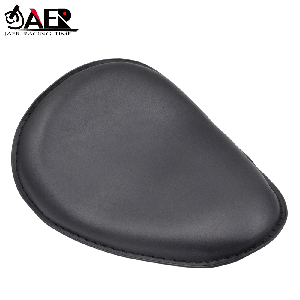JAER Moto Motorcycle Black Leather Slim Seat Large Copper Solo Seat Mount For Harley Sportster Bobber Chopper