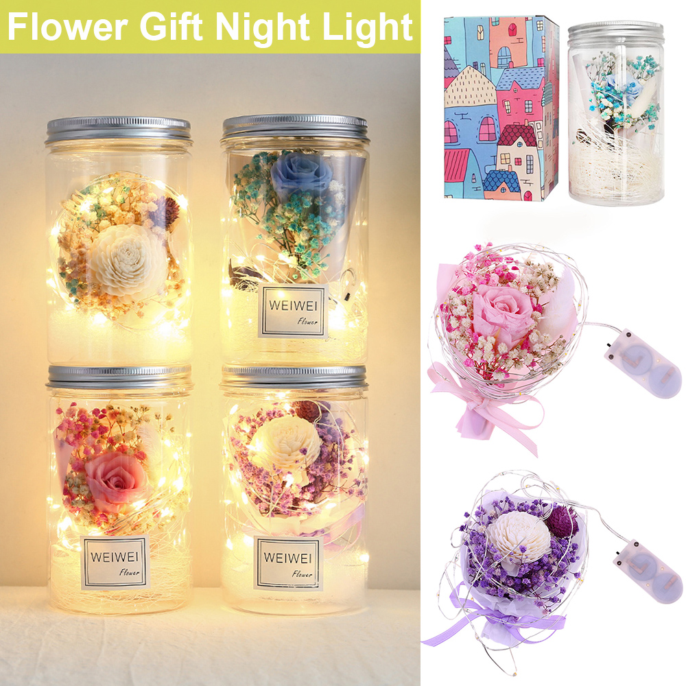 LED Night Lamp Flower Light Rose Flowers In Jar Bottle Home Decoration Kids Gift Fairy Lights 35