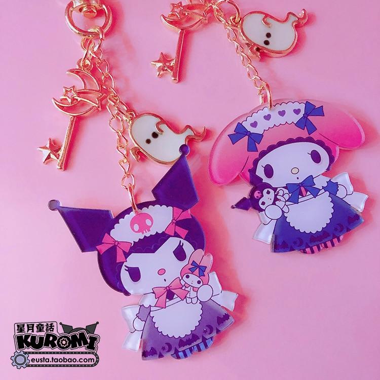 1pc Super Cute Cartoon Melody Kuromi PVC Doll Keychain Pendant For Charms Car Keyrings Decoration