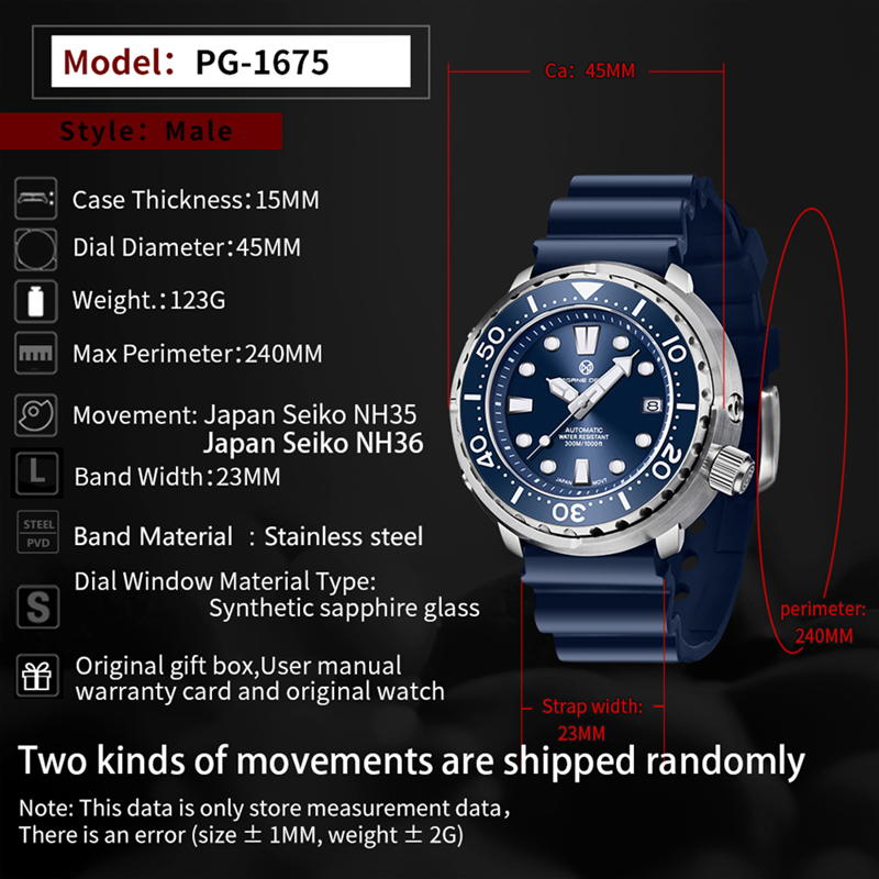 PAGRNE DESIGN Watch For Men Tuna diver 300M Waterproof NH35 Mechanical Watch Sapphire Crystal Automatic Wrist watch Reloj Hombre 6