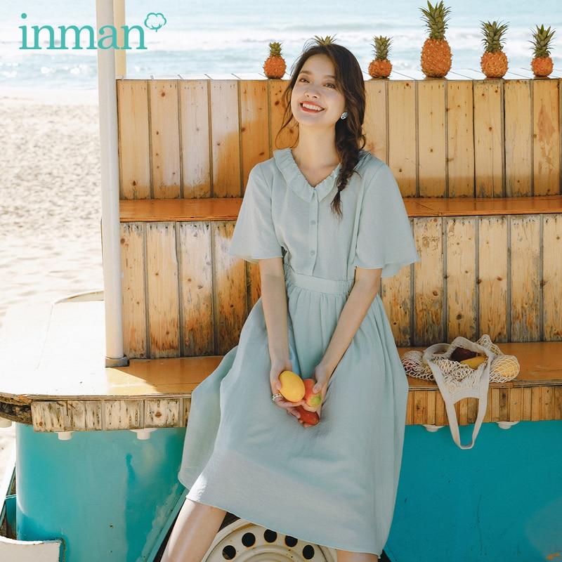 INMAN 2020 Summer New Arriavl Literary Falbala Doll Collar Pure Color Nipped Waist Dress