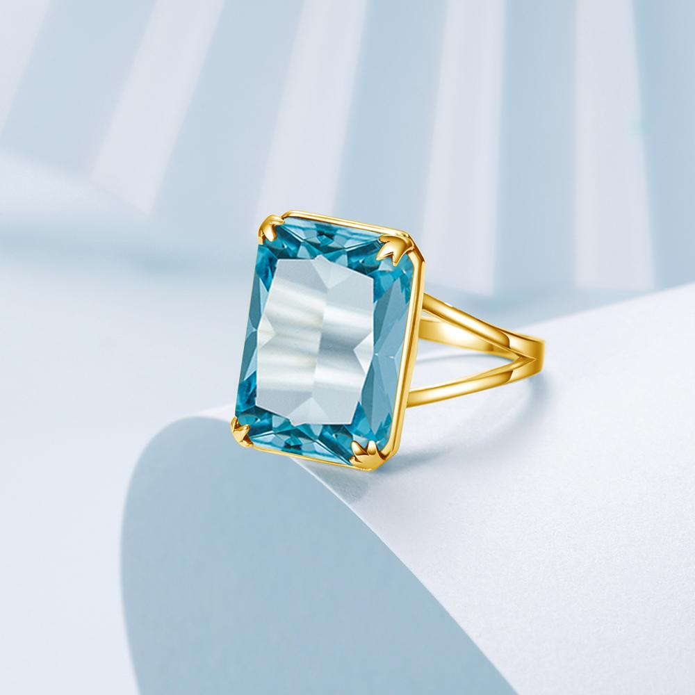 100% Genuine Silver 925 Rings With 14K Gold Ring Sky Blue Aquamarine Handmade Carve Rectangle Gemstone Fine Jewelry For Women