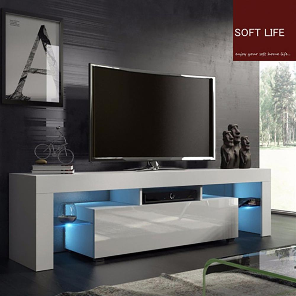Moderne Led Tv Stand Kast Woonkamer Meubels Fit Voor Tot 50Inch Tv Schermen Hoge Capaciteit Tv Console voor Woonkamer