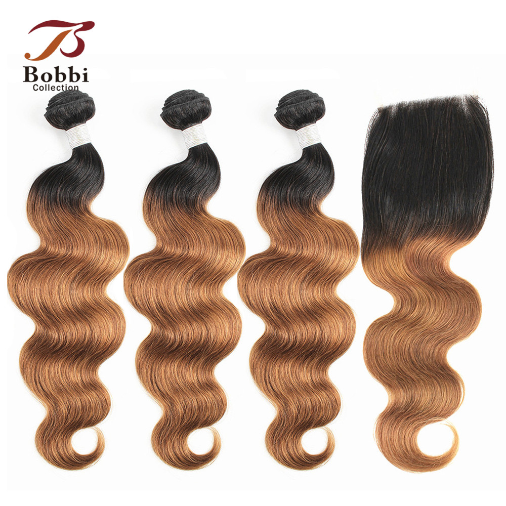 BOBBI COLLECTION 3/4 <font><b>Bundles</b></font> <font><b>With</b></font> <font><b>Closure</b></font> T <font><b>1B</b></font> <font><b>30</b></font> Ombre Brazilian Boby Wave Hair Weave <font><b>Bundles</b></font> Non-Remy Human Hair Extensions image