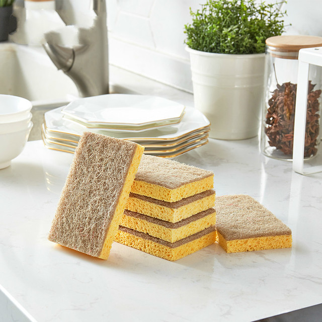 Japan 2pc Dishwashing Sponge Natural Anti Oil Kitchen Wood Pulp Magic Sponge Scrubber Dish Bowl Cleaning Brush 2