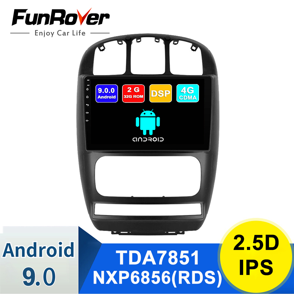 FUNROVER Android 9.0 Car Radio Multimedia Video Player For Chrysler Grand Voyager For Dodge Caravan 2006-2012 Navigation GPS Dvd