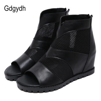 Gdgydh Retro Style Open Toe Shoes Woman Summer Boots Height Increasing Hollow Mesh Breathable European Female Black 2020