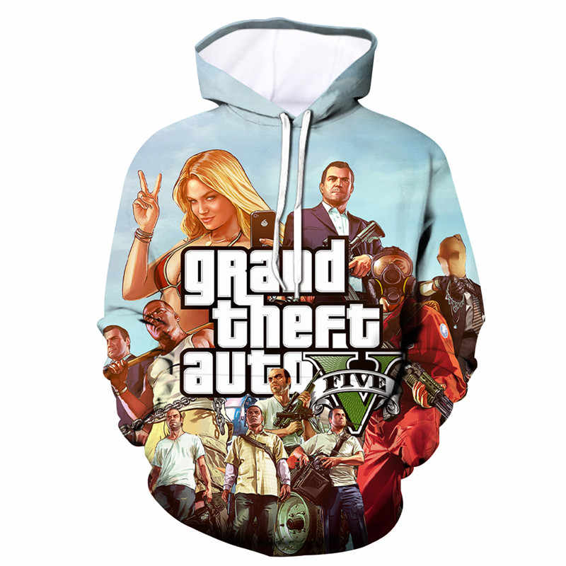 2019 AUTUMN Men / Women Singer Hooded Sweatshirts Spring Outerwear Plus Size Unisex Polluver GTA 5 Game 3D Printed Hoodies