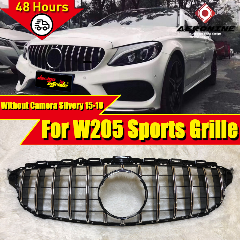 Fits For MercedesMB C205 W205 GTS style Grille grill ABS silver C class Front grille without Camera &without sign 2015-2018