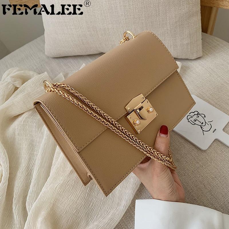 Casual Simple Women's Handbags Solid Chain Lock Corssbody Bags for Women Ladies Flap Purse Luxury Pu Leather Women Handbag