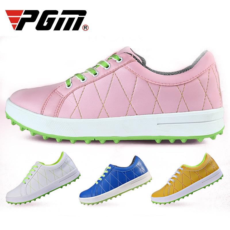 PGM Women Golf Shoes Breathable Microfiber Leather Waterproof Shoes Spikes Anti-slip Good Grip Resistant Golf Shoes EU34-39